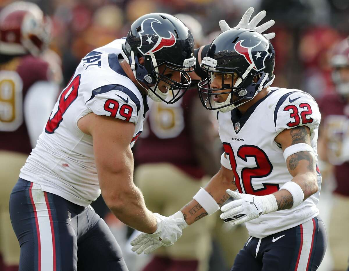 PHOTOS: Texans vs. Washington Houston Texans defensive end J.J. Watt (99) and free safety Tyrann Mathieu (32) celebrate Mathieu's sack of Washington quarterback Alex Smith during the second quarter of an NFL football game at FedEx Field on Sunday, Nov. 18, 2018, in Landover. >>>Look back at game action from the Texans' seventh straight win Sunday ...