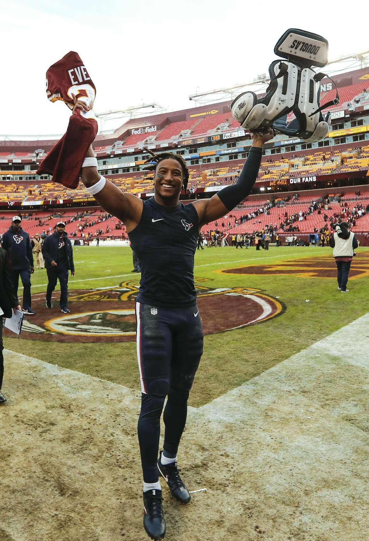 Houston Texans strong safety Justin Reid celebrates as he leaves the field following the Texans 23-21 win over Washington at FedEx Field on Sunday, Nov. 18, 2018, in Landover, Md. Reid scored on a 101-yard touchdown return of a pass by Washington quarterback Alex Smith.