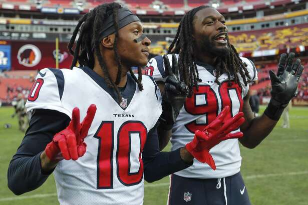 Wide receiver DeAndre Hopkins (10) and outside linebacker Jadeveon Clowney are well aware Sunday's victory was the Texans' seventh in a row.