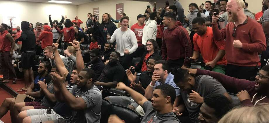 The Lamar football team celebrates after the Cardinals were selected to compete in the 2018 FCS playoffs on Sunday morning at the Dauphin Athletic Complex. Photo provided by Lamar Athletics. Photo: Lamar Athletics
