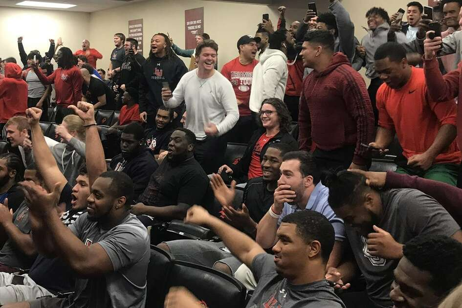 The Lamar football team celebrates after the Cardinals were selected to compete in the 2018 FCS playoffs on Sunday morning at the Dauphin Athletic Complex. Photo provided by Lamar Athletics.