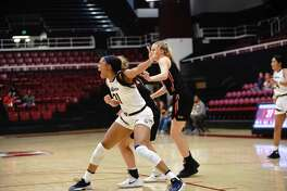 Kristine Anigwe of Cal Women's basketball posts up during a game against University of Pacific at Maples Pavilion in Stanford, California on Sunday, November 18, 2018