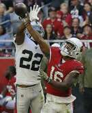 Oakland Raiders cornerback Rashaan Melvin (22) breaks up a pass intended for Arizona Cardinals wide receiver Trent Sherfield (16) during the first half of an NFL football game, Sunday, Nov. 18, 2018, in Glendale, Ariz. (AP Photo/Rick Scuteri)