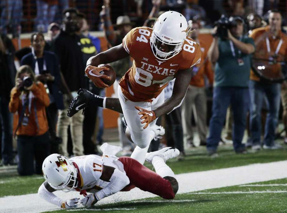 Lil'Jordan Humphrey and the Longhorns defeated the Cyclones 24-10 Saturday. With the win, Texas now only has to defeat Kansas to clinch a Big 12 Championship berth. Photo: Eric Gay /Associated Press / Copyright 2018 The Associated Press. All rights reserved.