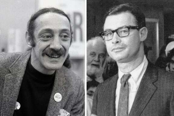 Supervisor Harvey Milk, left, and Mayor George Moscone were assassinated at San Francisco City Hall on Nov. 27, 1978.
