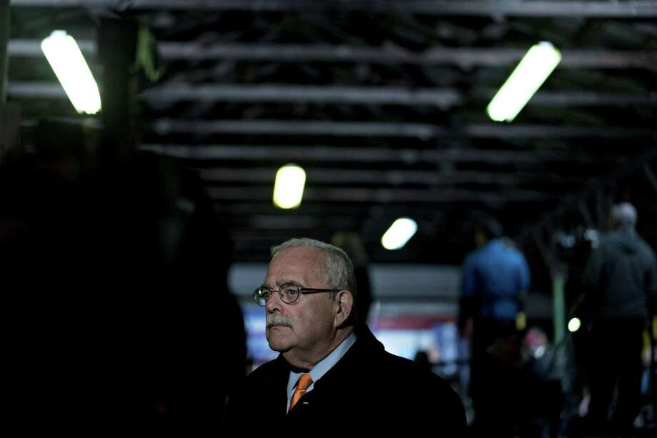 Rep. Gerry Connolly is poised to become chairman of the House Oversight and Government Reform subcommittee on government operations, which has broad jurisdiction, including over the federal workplace. The Virginia Democrat is shown during a television interview during a campaign rally in Manassas on Nov. 4, 2018. Photo: Andrew Harrer/Bloomberg / Bloomberg