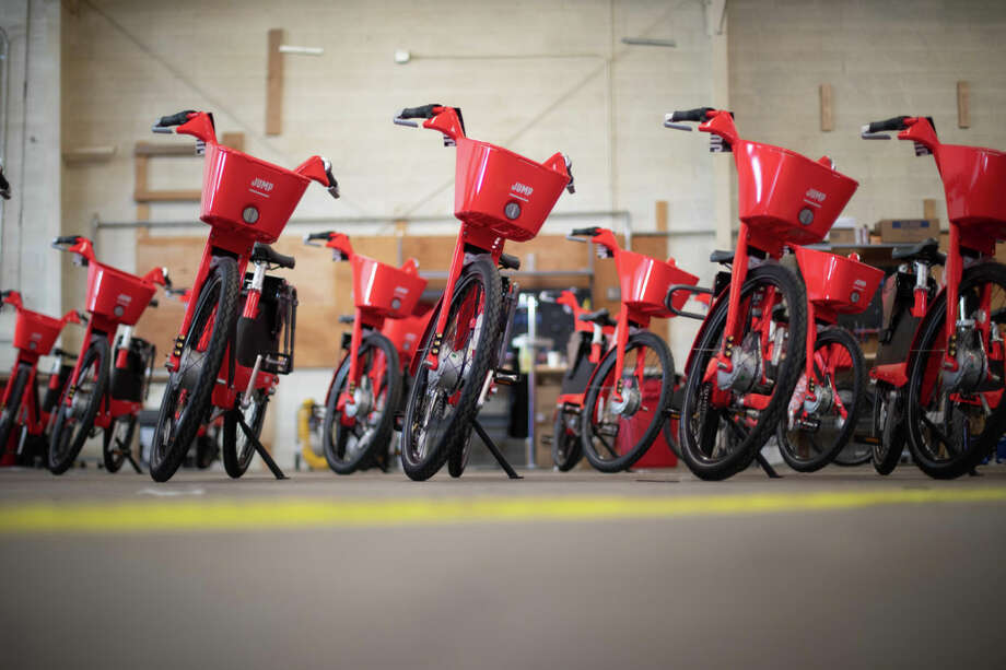 JUMP bikes sit in a warehouse ahead of Seattle launch. (Uber Photo) Photo: Courtesy GeekWire