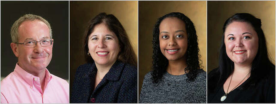 From left are Ron Worthington, PharmD, and Carolina Rocha, PhD, Dalia Hassan and Jeri Reuter. Photo: For The Telegraph