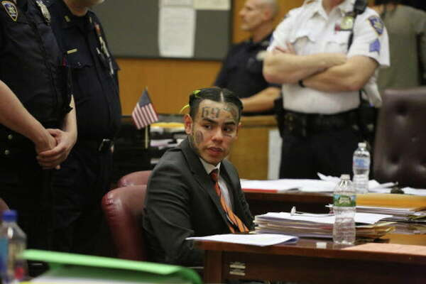 Daniel Hernandez, the rapper known as Tekashi69 or 6ix9ine, during sentencing in state Supreme Court in Manhattan, Oct. 26, 2018. Prosecutors said Hernandez had violated a 2015 plea agreement by getting into more trouble, but a judge rejected their request to send him to prison. (Jefferson Siegel/The New York Times)