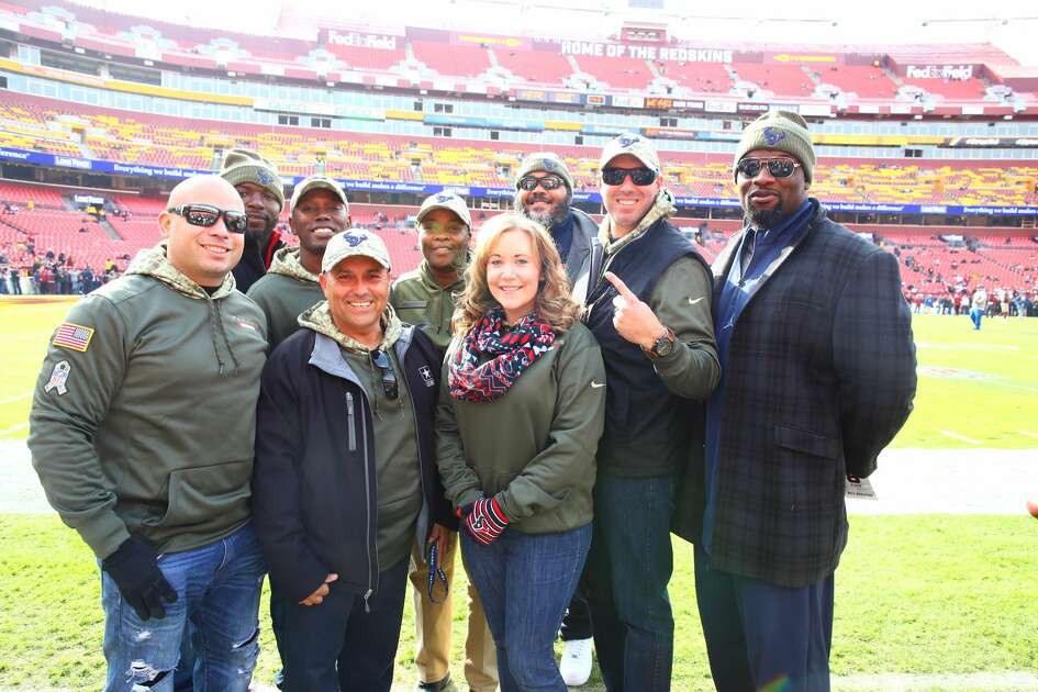Service men and women who were treated to a trip to Washington, D.C., for a weekend to see the Texans play on Nov. 18, 2018.