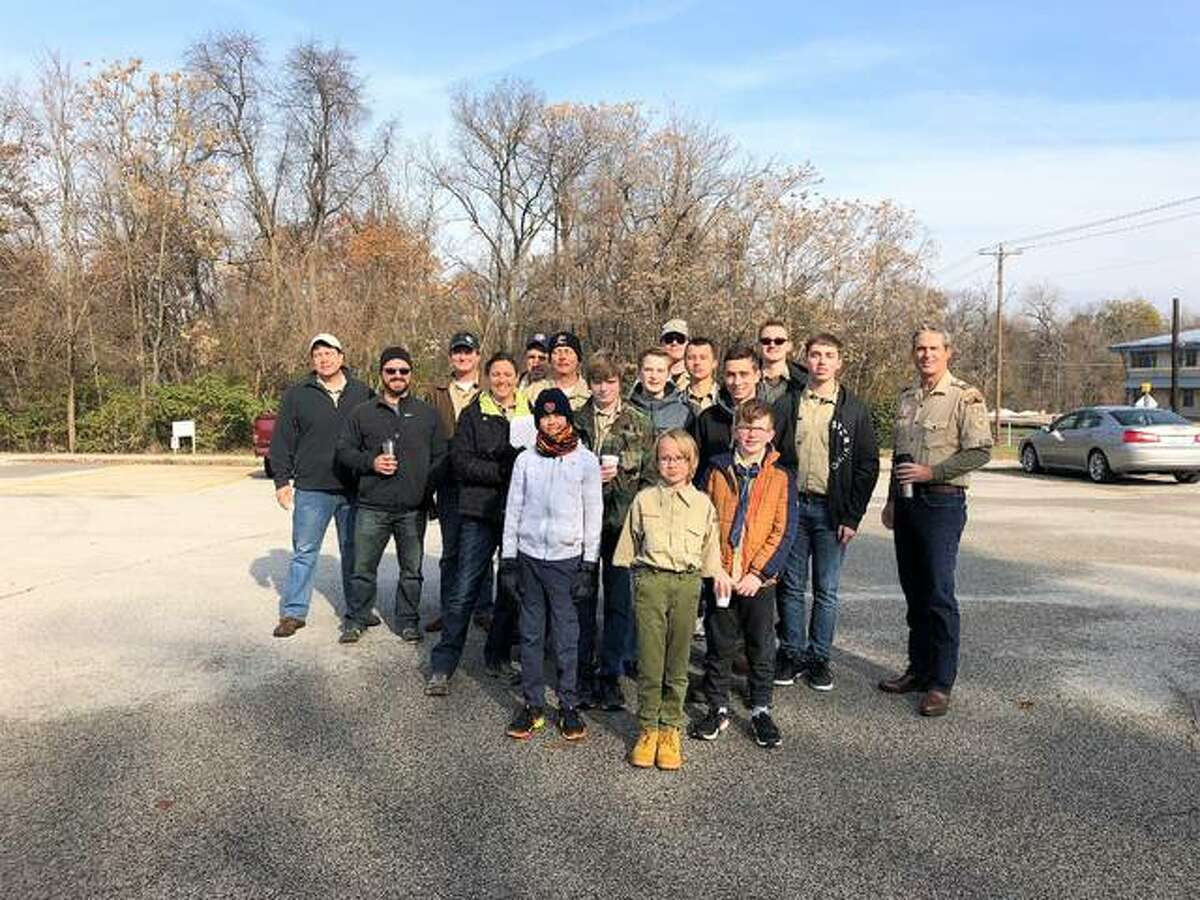 Troop 1216 of Edwardsville poses as they recently assisted in MERS Goodwill and Boy Scouts of America Greater St. Louis Area Council's 34th annual Scouting For Food Drive event.