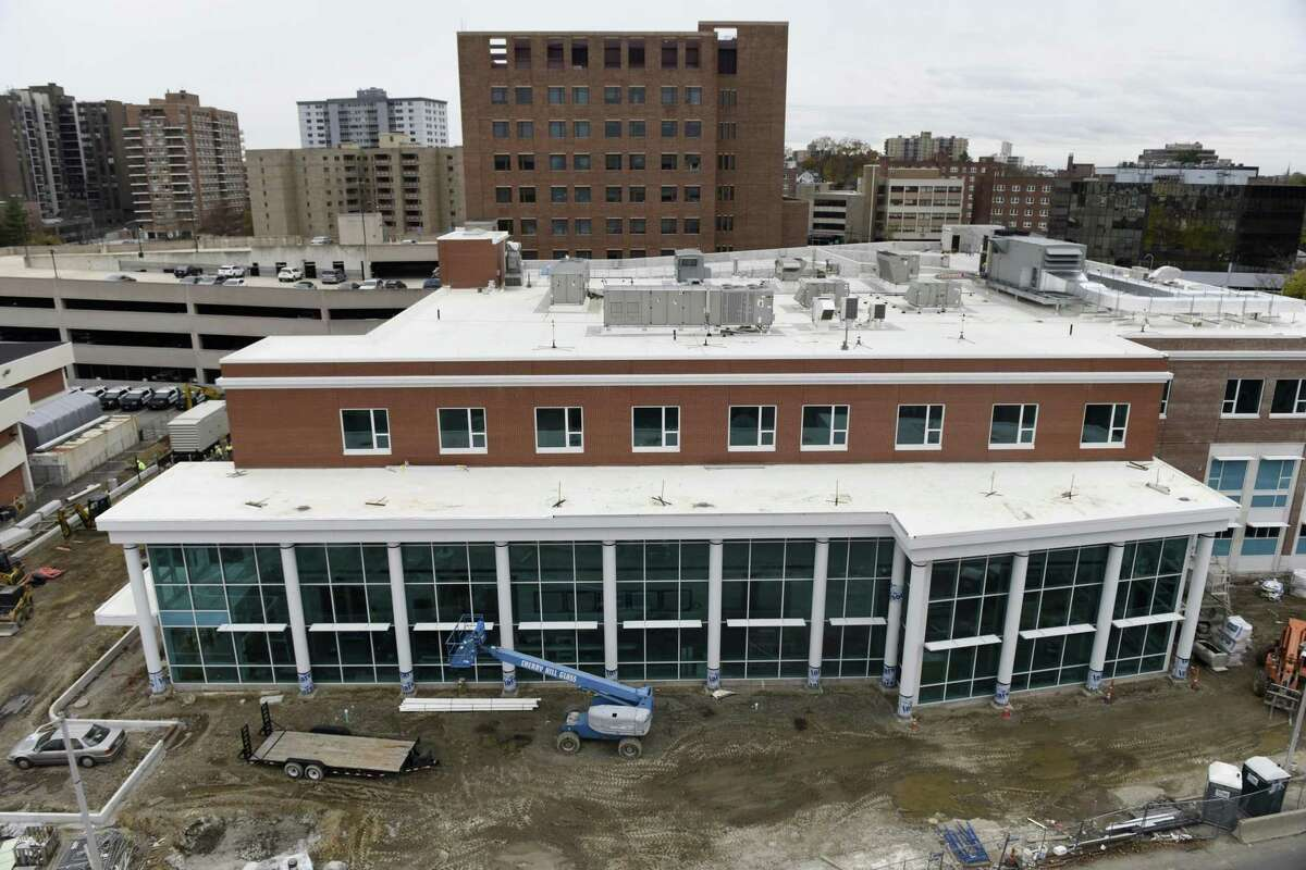 Construction crews continue work on the new police station in Stamford, Conn. Thursday, Nov. 15, 2018. The new 94,000 sq. ft. station sits on the corner of Bedford Street and North Street, just south of the current police headquarters. The project is still on budget and on track to be completed in late February.