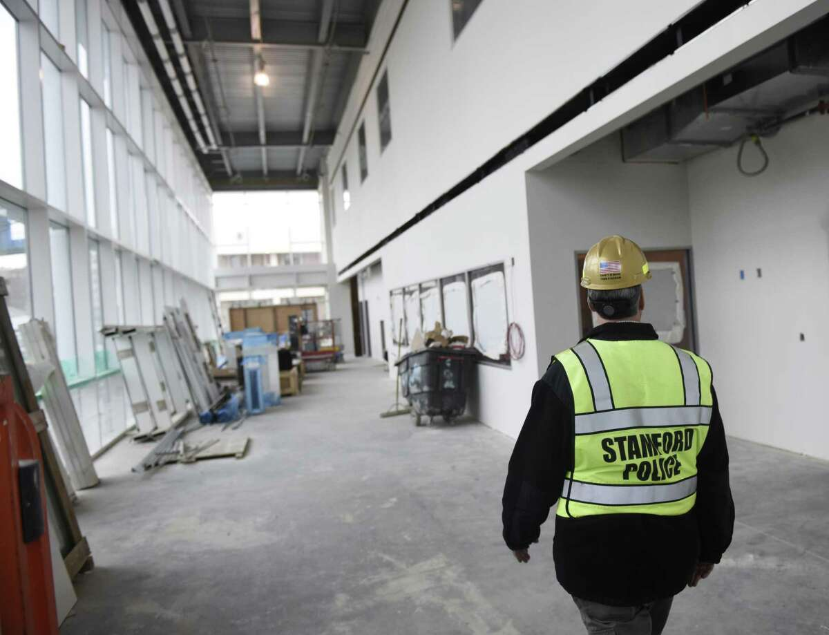 The main lobby at the new police station in Stamford, Conn. Thursday, Nov. 15, 2018. The new 94,000 sq. ft. station sits on the corner of Bedford Street and North Street, just south of the current police headquarters. The project is still on budget and on track to be completed in late February.