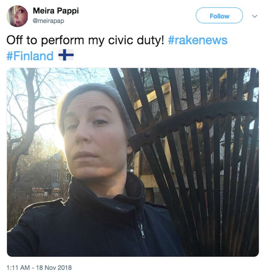 Folks in Finland are churning out memes in response to President Donald Trump saying the Fins practice good forest management by raking their forest floors. Photo: Twitter Screen Grab