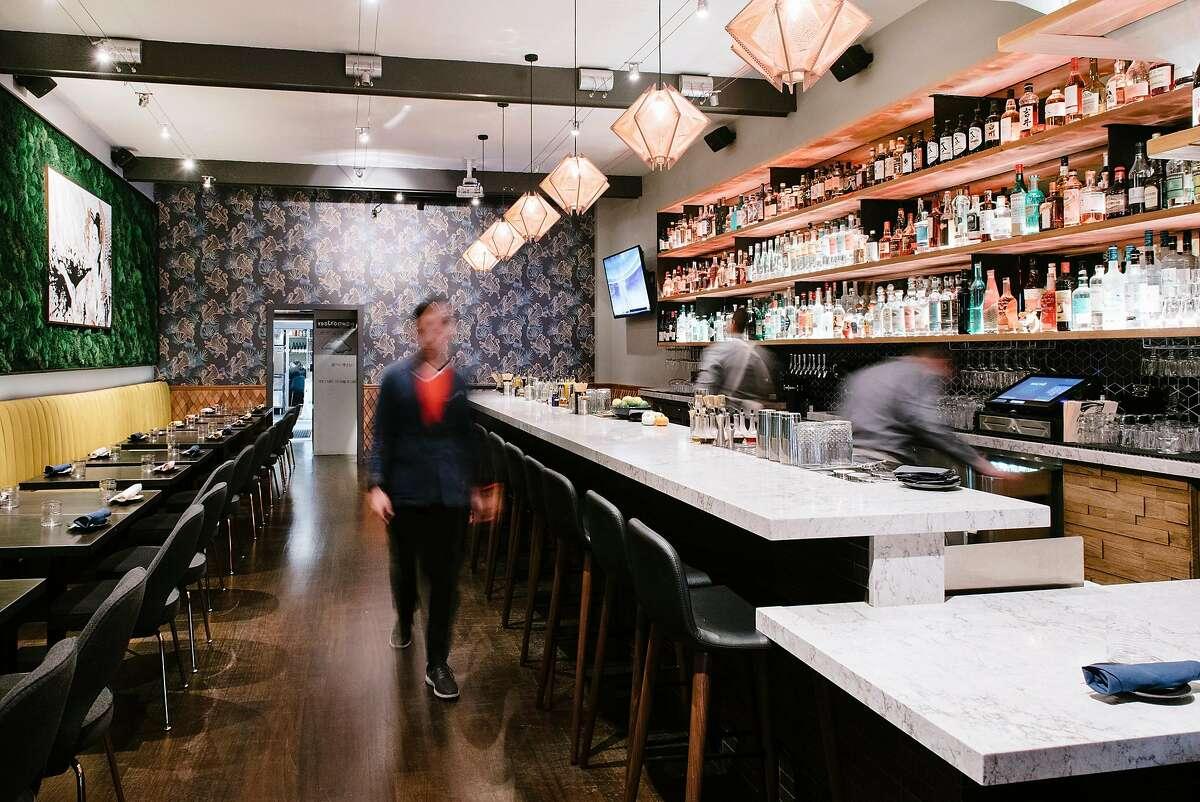 The main dining area and bar at Kaiyo restaurant in San Francisco, California, on Wednesday, November 14, 2018.