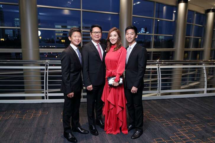 Mandy Kao, center, with family at the Asian Chamber of Houston gala.