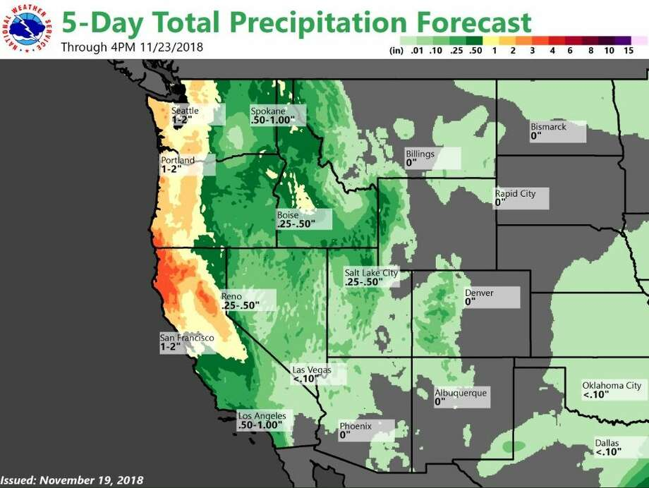 A five-day total precipitation forecast map by the National Weather Service shows up to 2 inches of rain could fall in the Seattle area between now and Friday afternoon. Photo: Courtesy NWS