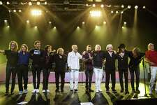 "Foreigner brings its ""Double Vision: Then and Now"" show to Mohegan Sun Arena on Dec. 1. From the left are Bruce Watson (guitar), Al Greenwood (keys), Michael Bluestein (keys), Kelly Hansen (lead vocals), Lou Gramm (lead vocals), Mick Jones (lead guitar), Chris Frazier (drums), Rick Wills (bass), Ian McDonald (sax, keys, guitar), Tom Gimbel (sax, keys, guitar), Jeff Pilson (bass) and Dennis Elliott (drums)."