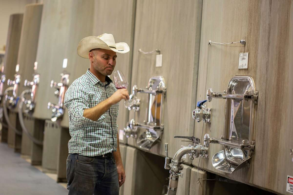 Winemaker Jeremy Weintraub tastes wine straight from the tanks at Adelaida Vineyards on Wednesday, 10/24, 2018 in Paso Robles, California.