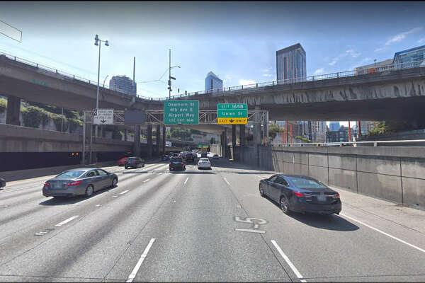 Interstate 5 southbound through downtown Seattle.