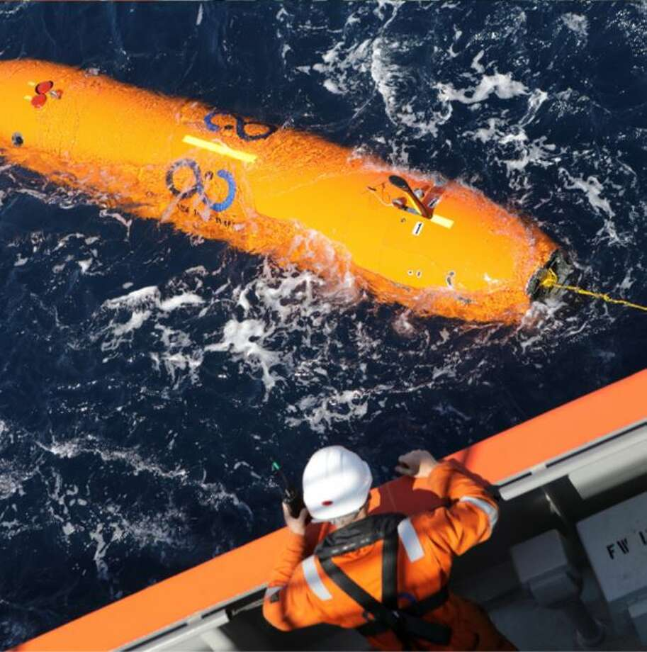 Ocean Infinity deploys one of its Autonomous Underwater Vehicles to search for the ARA San Juan, an Argentine submarine that went missing in November 2017. Photo: Ocean Infinity