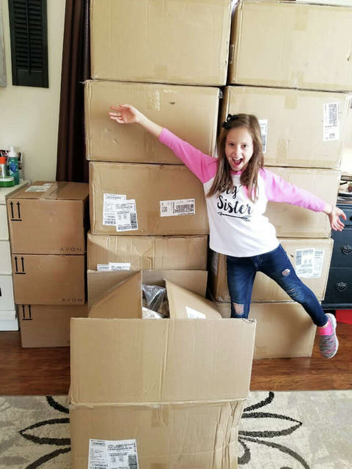 """Nine-year-old Gracie, of Bethalto, poses with 146 Herbie the Hedgehogs — plush, stuffed animals — as a part of her recently concluded """"Double Donation Fundraiser."""" Gracie, along with her parents Lauren and Jacob Funk, raised funds over the past several weeks to purchase Herbies to be donated to kids at SSM Health Cardinal Glennon Children's Hospital in St. Louis. The family also raised $1,168 for Bethalto East school. This year marks the fifth time Gracie has held a fundraiser in celebration of her birthday, previously donating to organizations such as Metro-East Humane Society and Partners 4 Pets. Nine-year-old Gracie, of Bethalto, poses with 146 Herbie the Hedgehogs — plush, stuffed animals — as a part of her recently concluded """"Double Donation Fundraiser."""" Gracie, along with her parents Lauren and Jacob Funk, raised funds over the past several weeks to purchase Herbies to be donated to kids at SSM Health Cardinal Glennon Children's Hospital in St. Louis. The family also raised $1,168 for Bethalto East school. This year marks the fifth time Gracie has held a fundraiser in celebration of her birthday, previously donating to organizations such as Metro-East Humane Society and Partners 4 Pets. Photo: Submitted Courtesy Of Lauren Funk 
