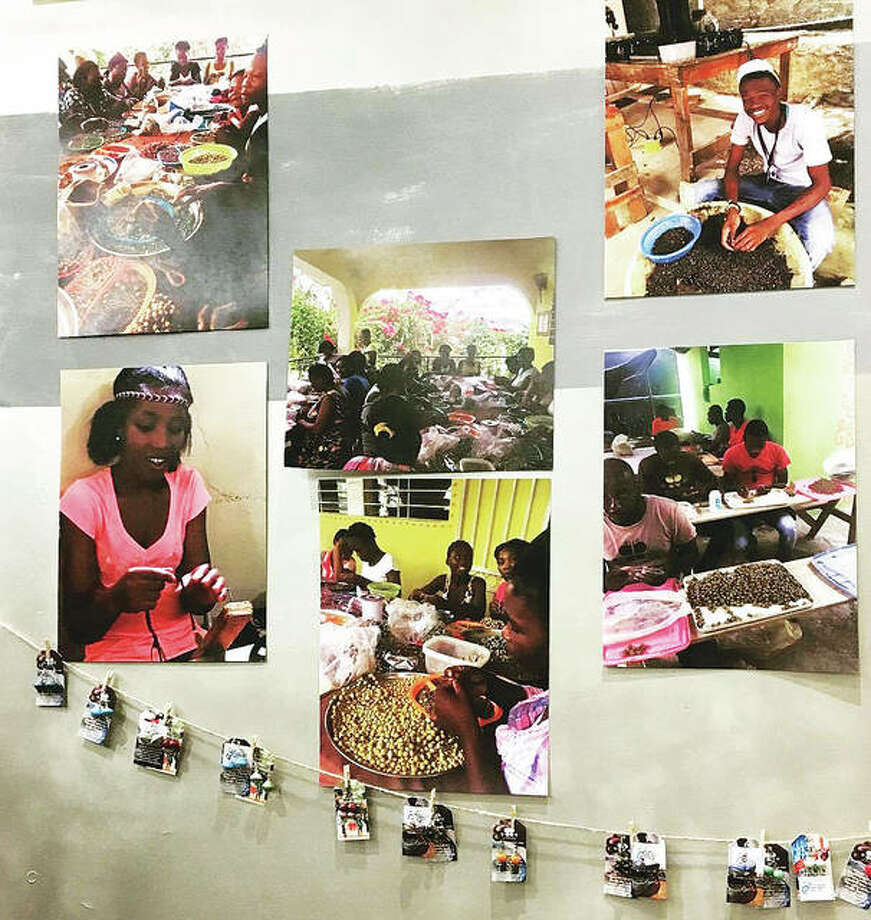 Goods made by sustainably employed Haitian citizens and photos of those employees working in their sustainable occupations. Photo: For The Edge