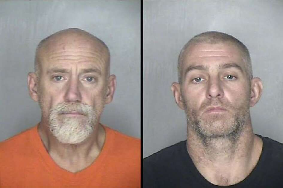 Robert DePalma, left, and William Erlbacher were arrested for allegedly burglarizing a Cal Fire station during the Camp Fire in Butte County. Each of the men are being held on $250,000 bail.