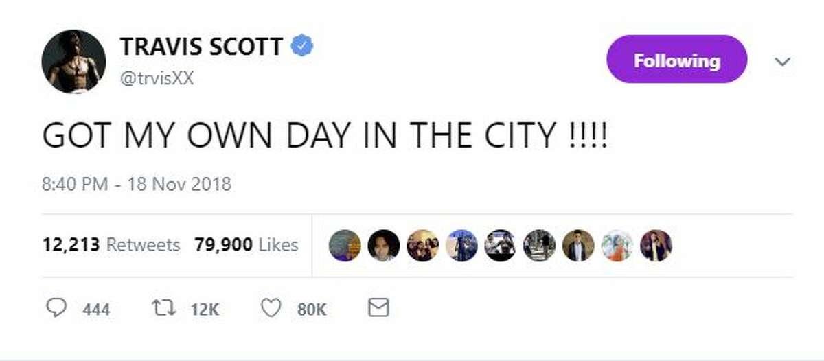Travis Scott reacted to receiving the honor by tweeting,