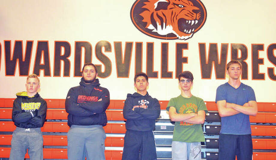 Seniors on the Edwardsville wrestling team are, from left to right, Noah Surtin, Josh Anderson, Connor Sotelo, Jack Evans and Samuel Clark. Sam Martin is not pictured. Photo: Scott Marion/Intelligencer