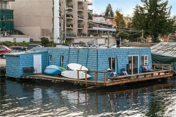 Yours for the first time in 30 plus years, this blue floating home asks $1.03M.