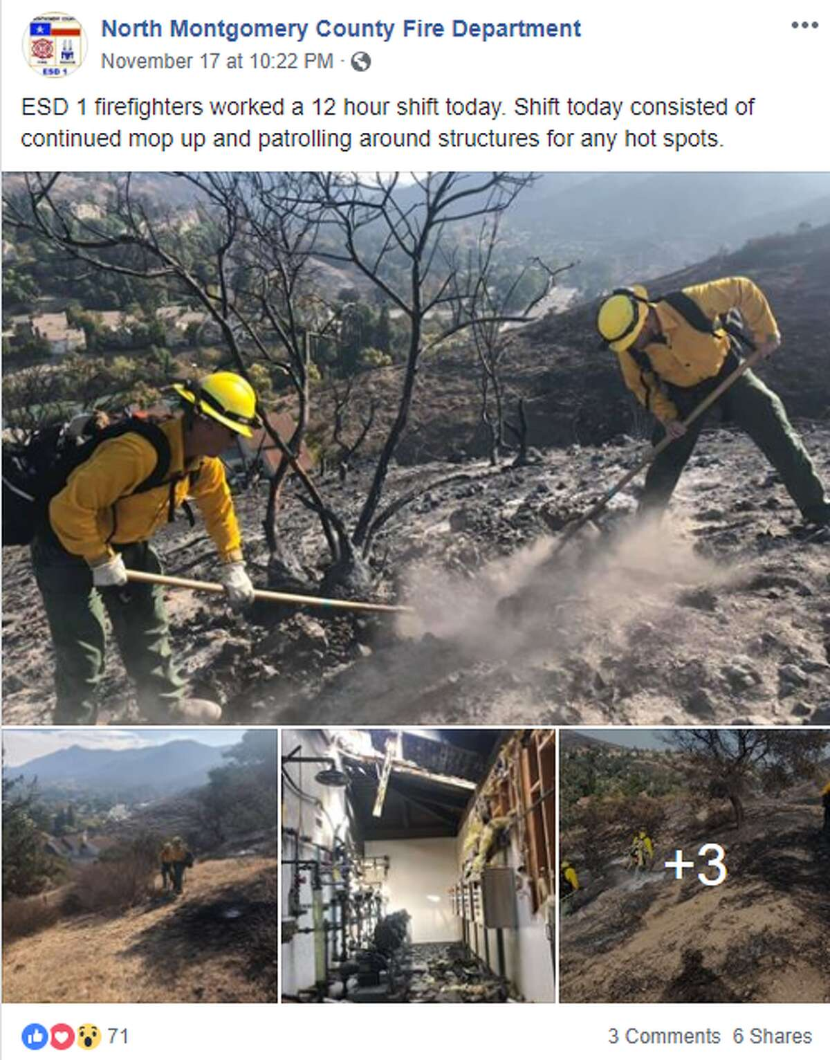 Multiple Texas fire departments have deployed to help battle the deadly wildfires in California. North Montgomery County firefighters said they had most recently been helping put out hot spots. They also assisted local authorities with community outreach initiatives in hard-hit areas, according to their Facebook page.