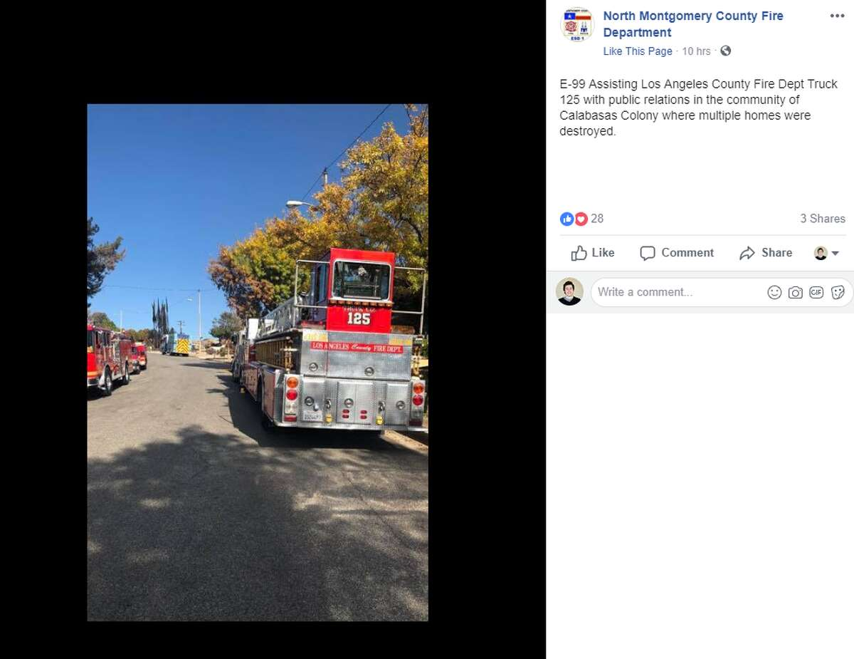 North Montgomery County firefighters said they had most recently been helping put out hot spots. They also assisted local authorities with community outreach initiatives in hard-hit areas, according to their Facebook page.
