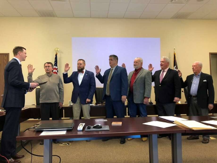 Rep. Will Metcalf sworn in the first ever elected board for the Lone Star Groundwater Conservation District. Photo: Courtesy Photo