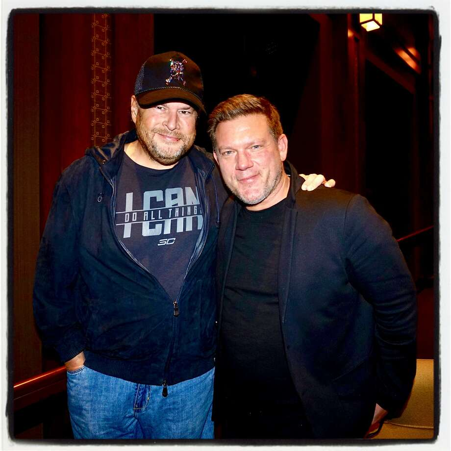 "Salesforce founder Marc Benioff (left) with chef Tyler Florence at the screening of his documentary on last year's fires, ""Uncrushable."" Photo: Catherine Bigelow / Special To The Chronicle"