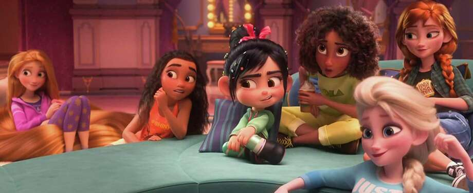 """Vanellope (Sarah Silverman), center, hangs out with Disney princesses in """"Ralph Breaks the Internet"""" Photo: Disney, HO / TNS / Internet Movie Data Base"""