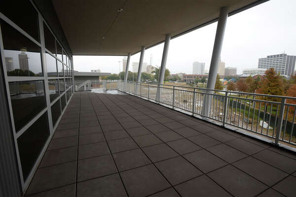 A balcony at the near-completed Lakeside Center overlooking the lake in downtown Beaumont. The Building will be home to the Best Years Center and will offer space for social gatherings. Photo taken Monday, 11/19/18