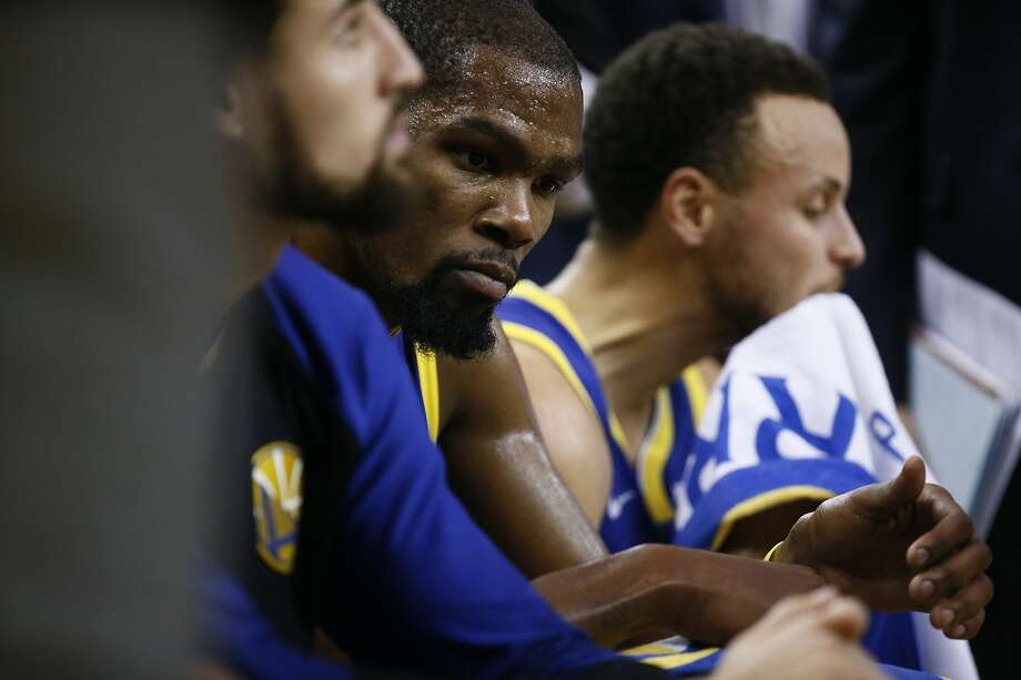 Golden State Warriors forward Kevin Durant (35) during a timeout in the first half of an NBA game between the Golden State Warriors and Minnesota Timberwolves at Oracle Arena on Friday, Nov. 2, 2018, in Oakland, Calif. Photo: Santiago Mejia / The Chronicle