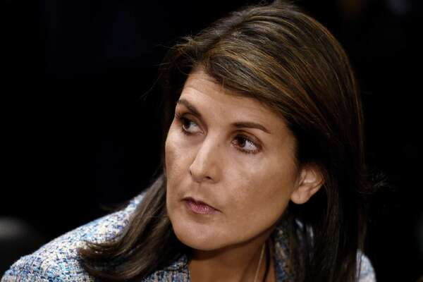 U.N. ambassador Nikki Haley attends Mike Pompeo's confirmation hearing before the Senate Foreign Relations Committee on April 12. Her departure from the administration has led to talk of a run for her for president in 2020. A GOP challenge of Trump is not beyond the realm of possibilities.