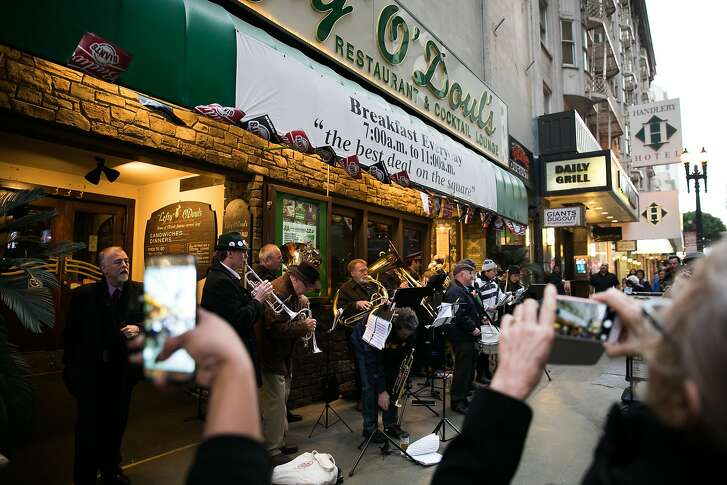 The Deutscher Musikverein of San Francisco play outside Lefty O'Doul's Restaurant & Cocktail Lounge's final party at the 333 Geary Street location in San Francisco, Calif., Monday, February 01, 2017. Nick Bovis, proprietor of Lefty O'Doul's, plans to move the restaurant and the memorabilia to a new location by late fall.