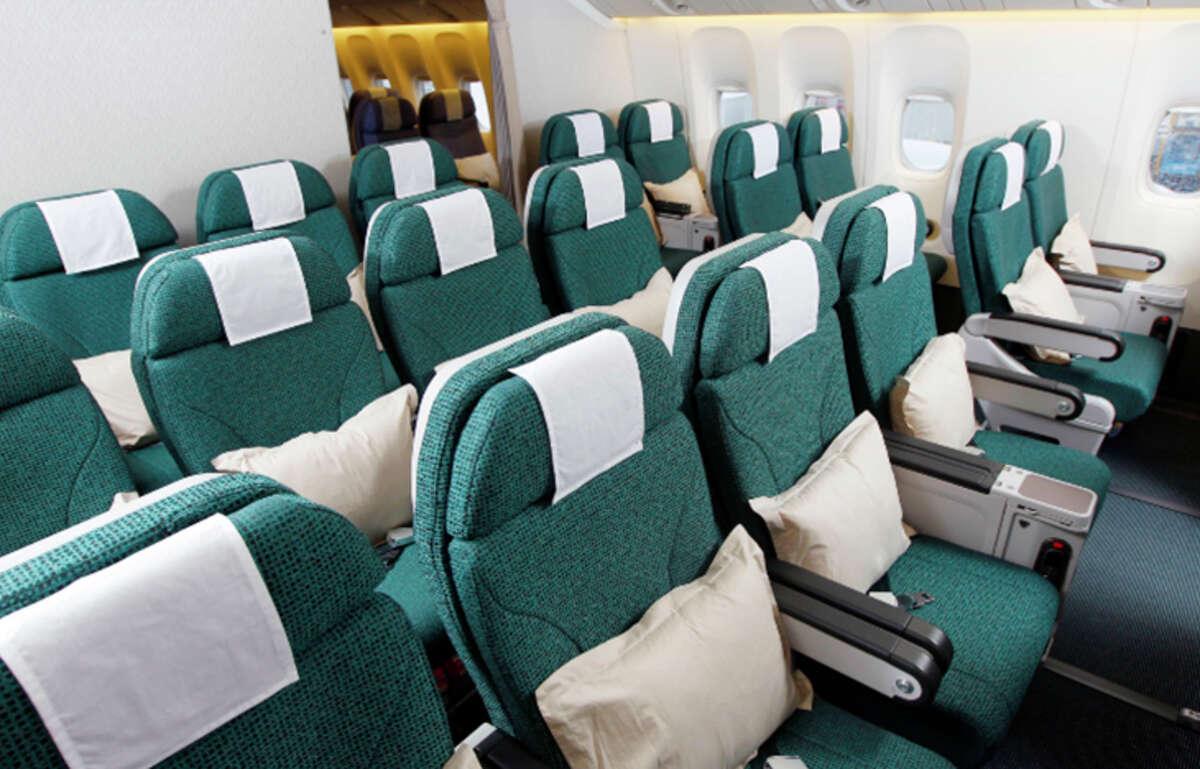 Premium economy seating on Cathay Pacific.