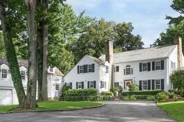 The 1917 colonial with striking architecture at 5 South Trail in Darien is on 1.35 acres in the Tokeneke Association and it is listed for $3.495 million.