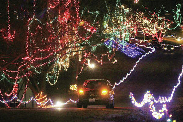 A single car heads toward the exit of Christmas Wonderland, the annual light display at Rock Spring Park last year.