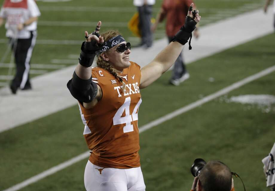 AUSTIN, TX - NOVEMBER 17:  Breckyn Hager #44 of the Texas Longhorns celebrates after the game against the Iowa State Cyclones at Darrell K Royal-Texas Memorial Stadium on November 17, 2018 in Austin, Texas.  (Photo by Tim Warner/Getty Images) Photo: Tim Warner/Getty Images