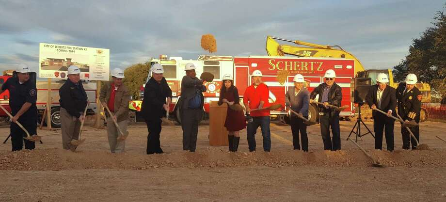 Members of the Schertz City Council join administrative staff in a traditional groundbreaking ceremony Nov. 15 for Schertz's third fire station, being built on Lower Seguin Road. Photo: Jeff B. Flinn / Staff Photographer