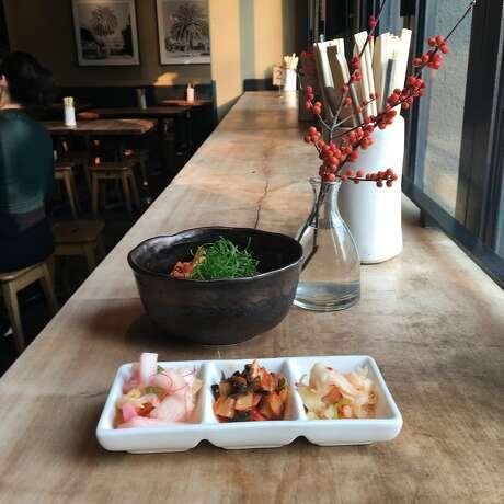 At Namu Gaji, Dennis Lee reformulated all his traditional Korean kimchi recipes to make them vegan a few years ago. Photo: Jonathan Kauffman / The Chronicle