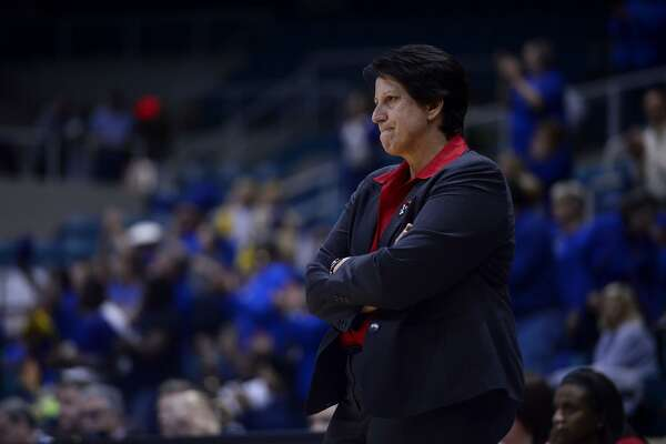 Lamar's women's basketball coach Robin Harmony watches near the end of the fourth quarter against McNeese State in the Southland Conference tournament on Friday morning. The Cardinals lost 88-78, ending their season. Photo taken Friday 3/11/16 Ryan Pelham/The Enterprise