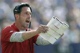 FILE - In this Sunday, Sept. 30, 2018, file photo, San Francisco 49ers head coach Kyle Shanahan gestures during the first half of an NFL football game against the Los Angeles Chargers, in Carson, Calif. Shanahan gets his first chance to coach against his old boss when 49ers (1-7) host Gruden and the Oakland Raiders (1-6) on Thursday night, Nov. 1.(AP Photo/Marcio Sanchez, File)
