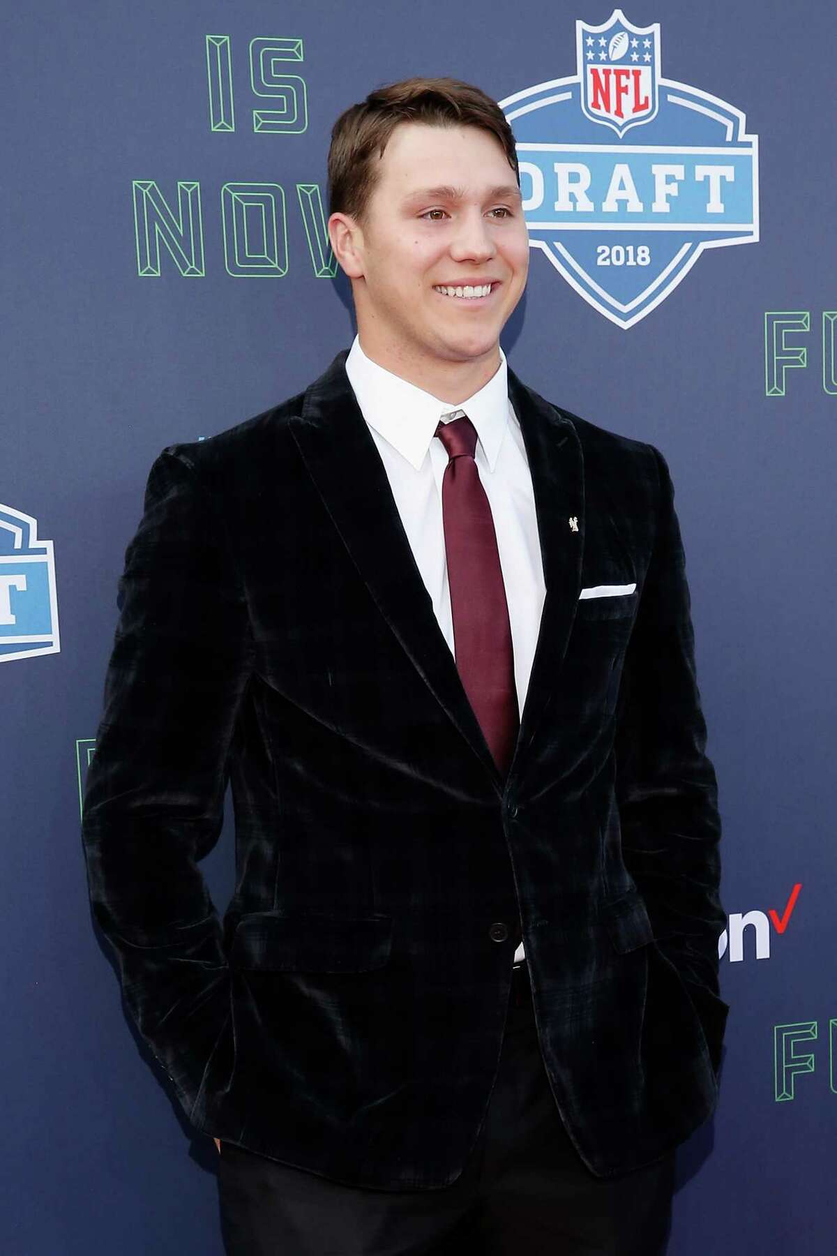 ARLINGTON, TX - APRIL 26: Josh Allen of Wyoming poses on the red carpet prior to the start of the 2018 NFL Draft at AT&T Stadium on April 26, 2018 in Arlington, Texas. (Photo by Tim Warner/Getty Images)