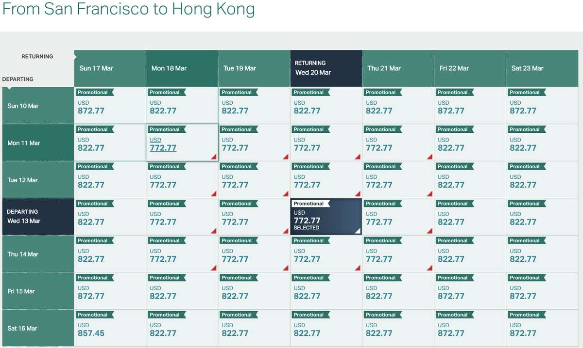 We found plenty of availability in March for Cathay's premium economy sale for $773 roundtrip